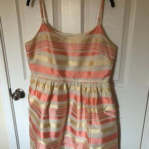 JCREW Pastel Coral and Gold Dress